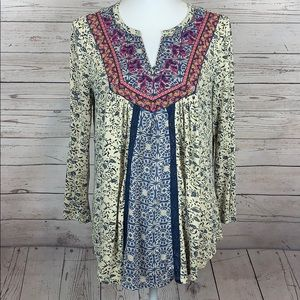 Lucky Brand Boho Floral Embroidered Top Tunic